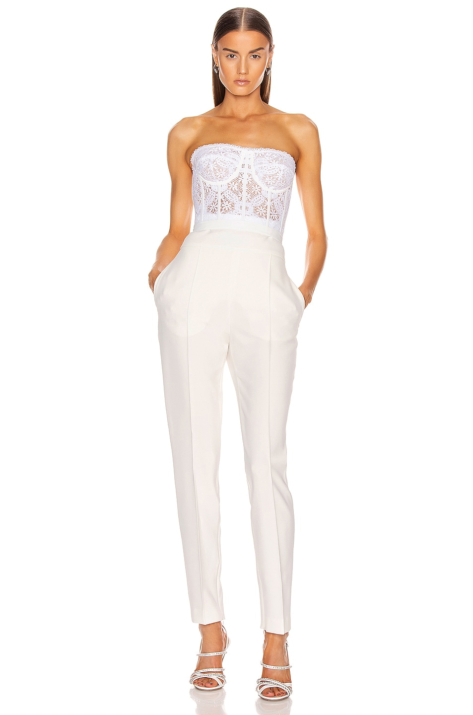 Image 4 of Alexander McQueen Lace Bustier Top in Optical White