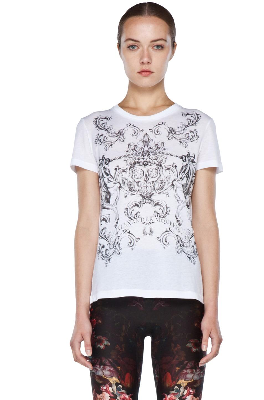 Image 1 of Alexander McQueen Unicorn Skull Tee in White