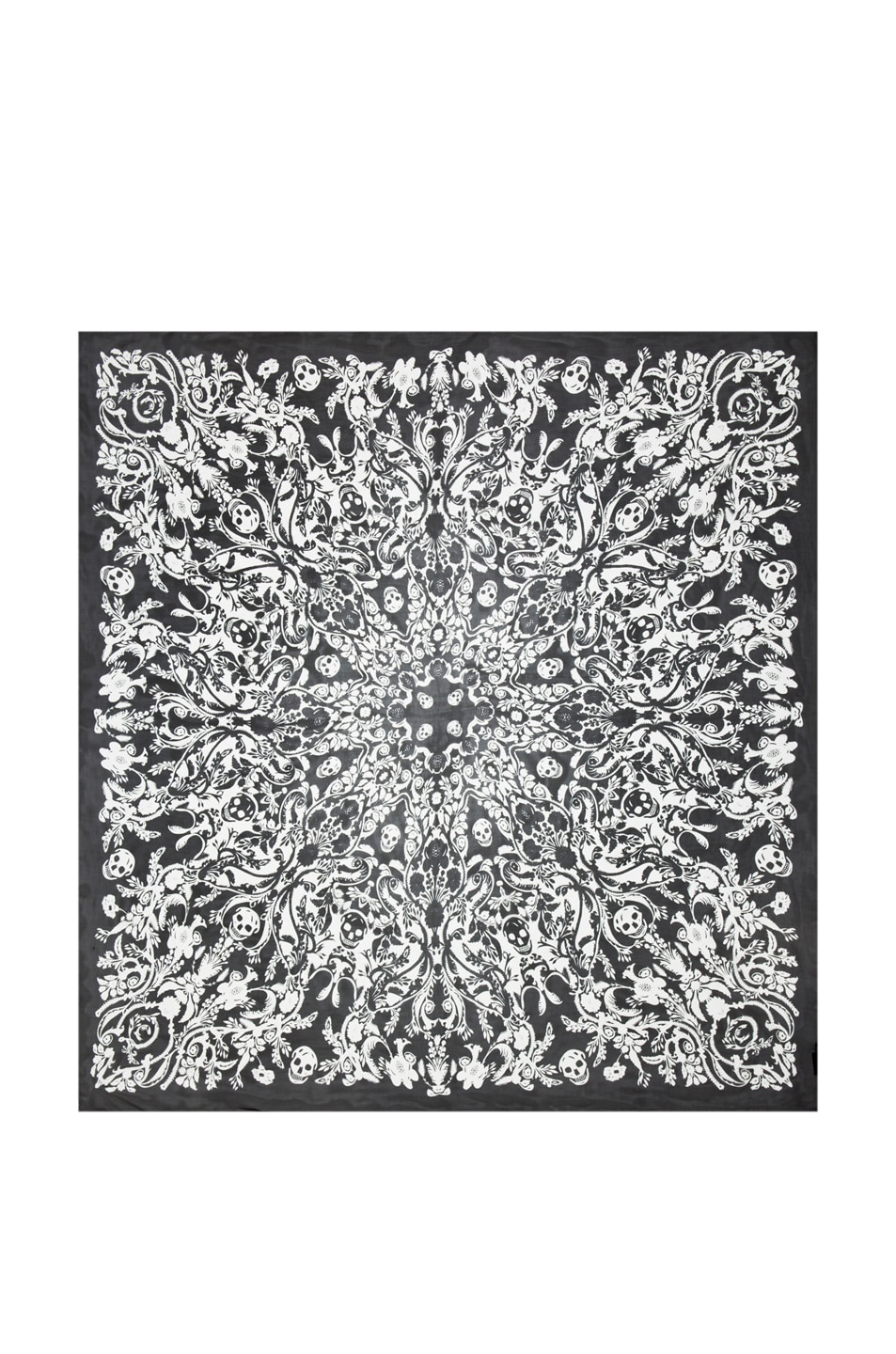 Image 1 of Alexander McQueen Graphic Chiffon Flower Scarf in Black & Ivory
