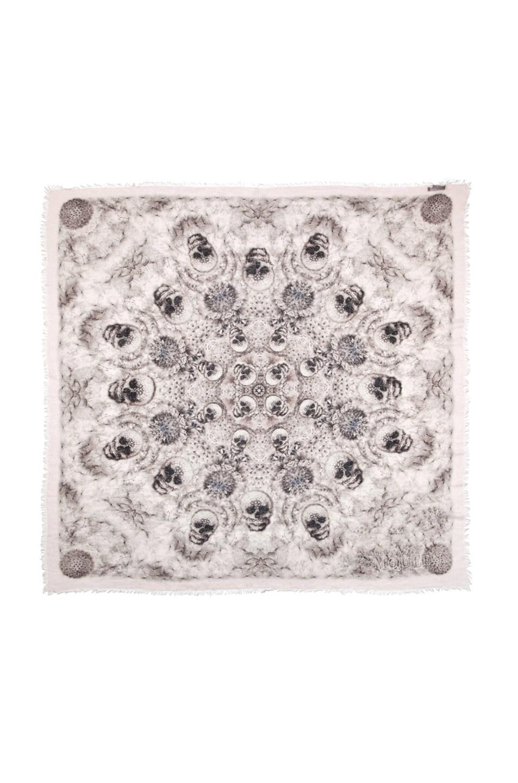 Image 1 of Alexander McQueen Silk Dandelions Circle Scarf in Pink