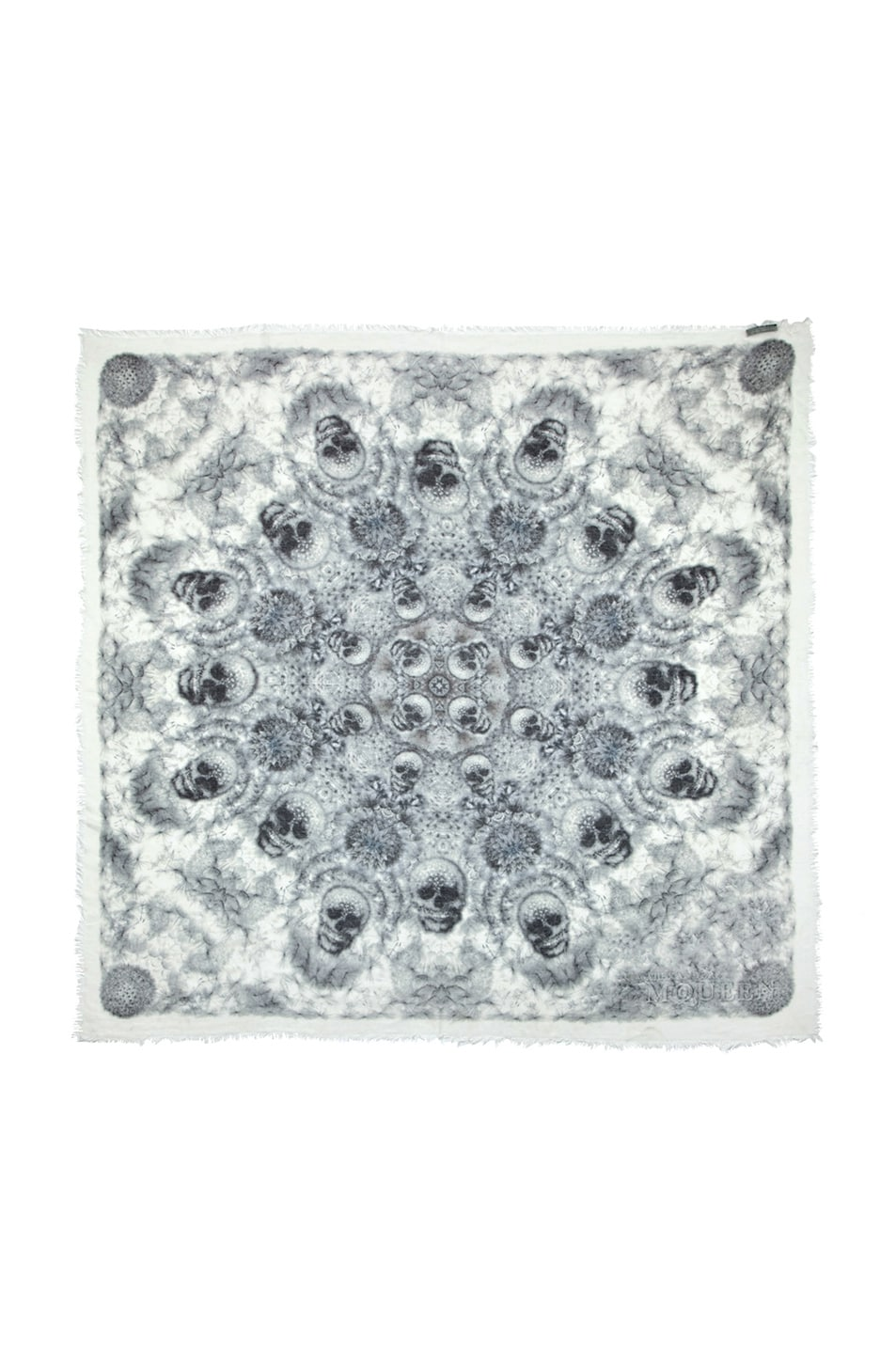 Image 1 of Alexander McQueen Silk Dandelions Circle Scarf in Off White