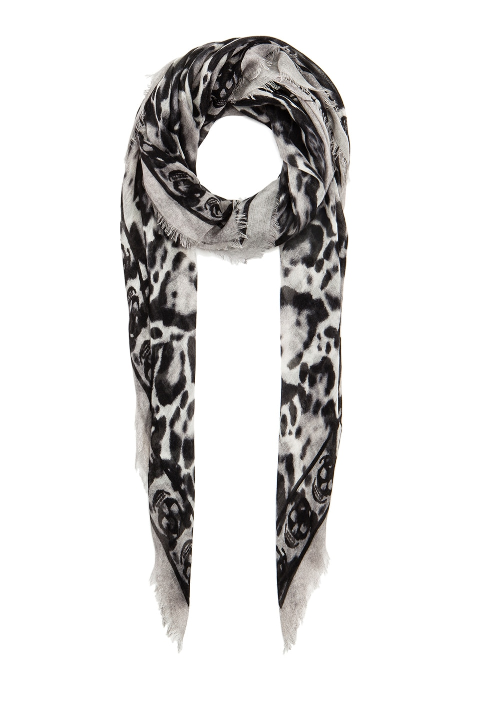 Image 1 of Alexander McQueen Animalier Cashmere & Silk Skull Scarf in Black & White