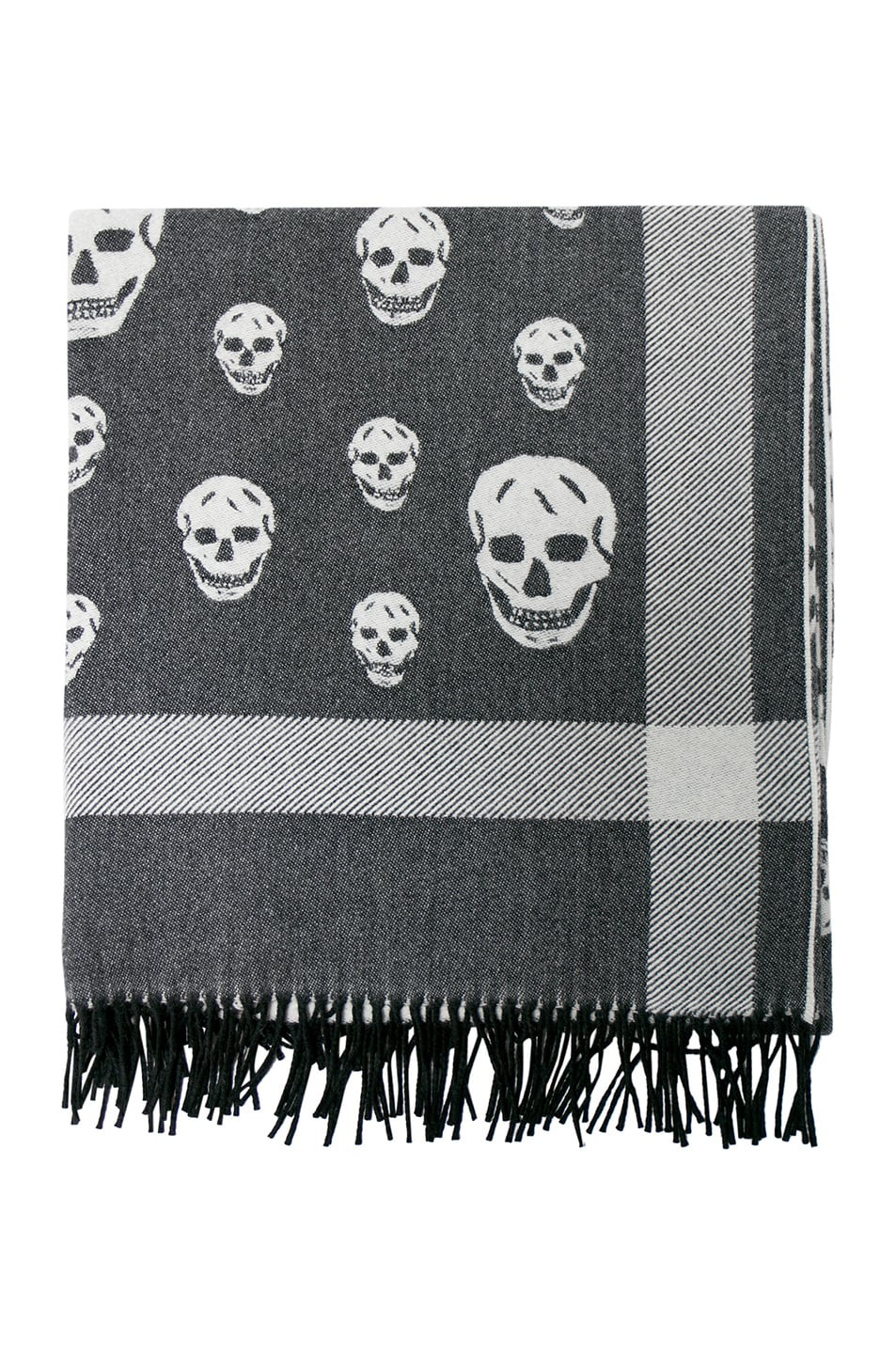 Image 1 of Alexander McQueen Skull Big Shawl in Black & Ivory