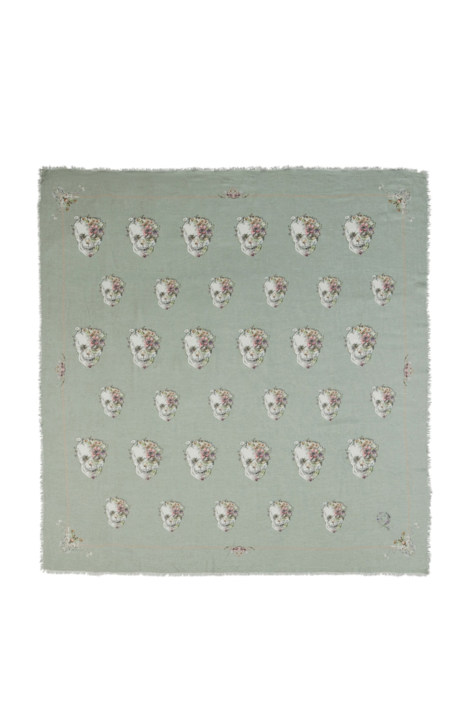 Image 1 of Alexander McQueen Flower Skull Scarf/Medium Grey in Aqua