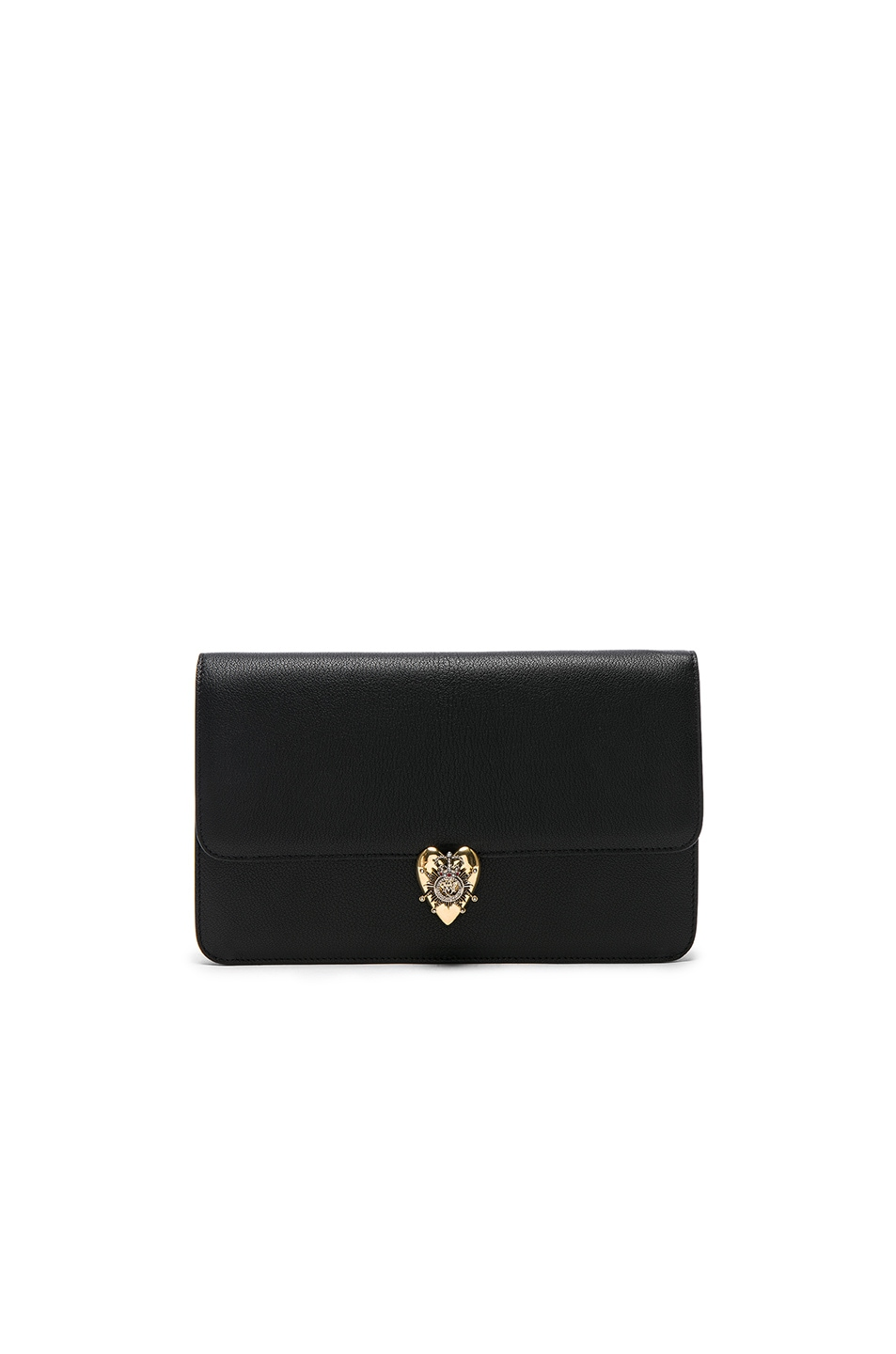 Image 1 of Alexander McQueen Heart Envelope Clutch in Black