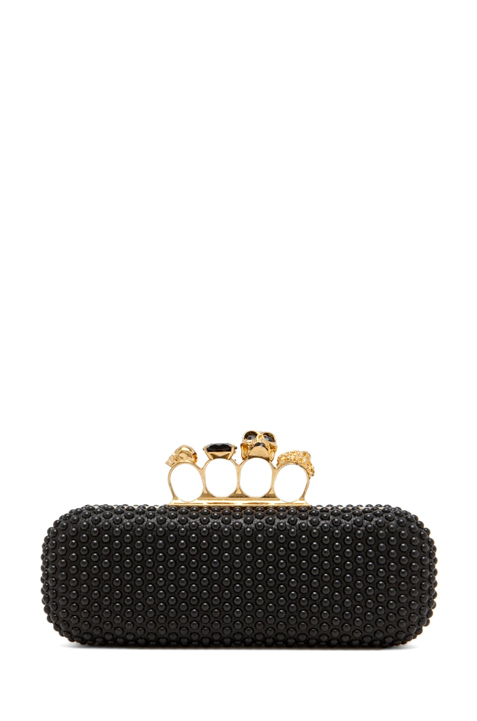 Image 1 of Alexander McQueen Knuckle Box Clutch in Black