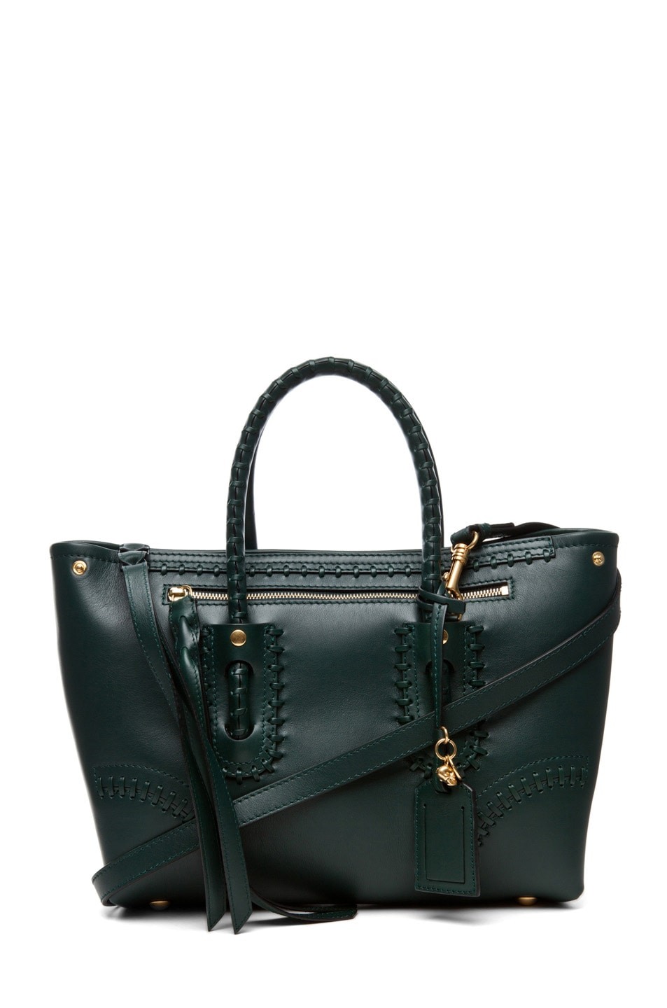 Image 1 of Alexander McQueen Folk Small Shopper in Bottle Green