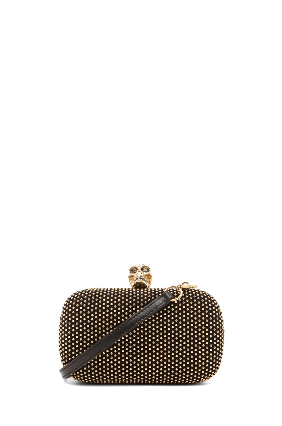 Image 1 of Alexander McQueen Classic Skull Box Clutch with Strap in Black