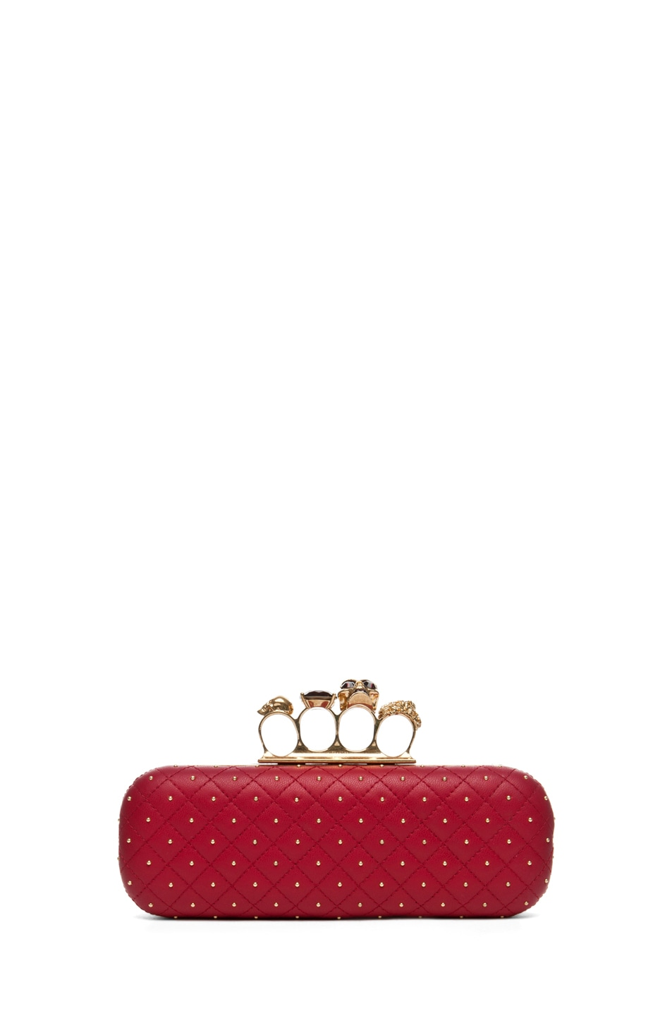 Image 1 of Alexander McQueen Knuckle Box Long Clutch in Cherry