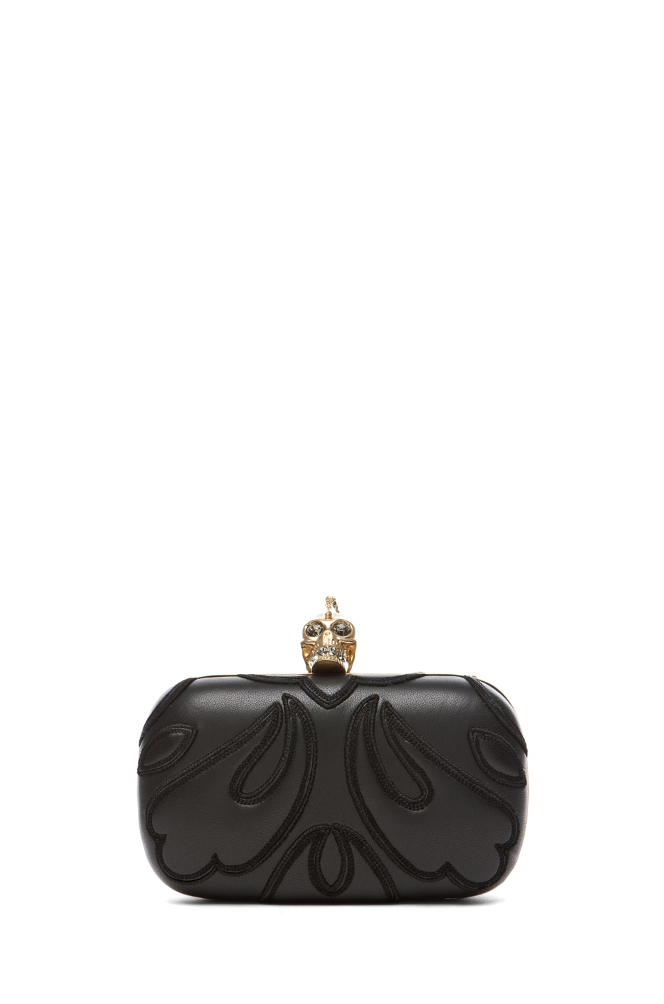 Image 1 of Alexander McQueen Punk Baroc Skull Box Clutch in Black