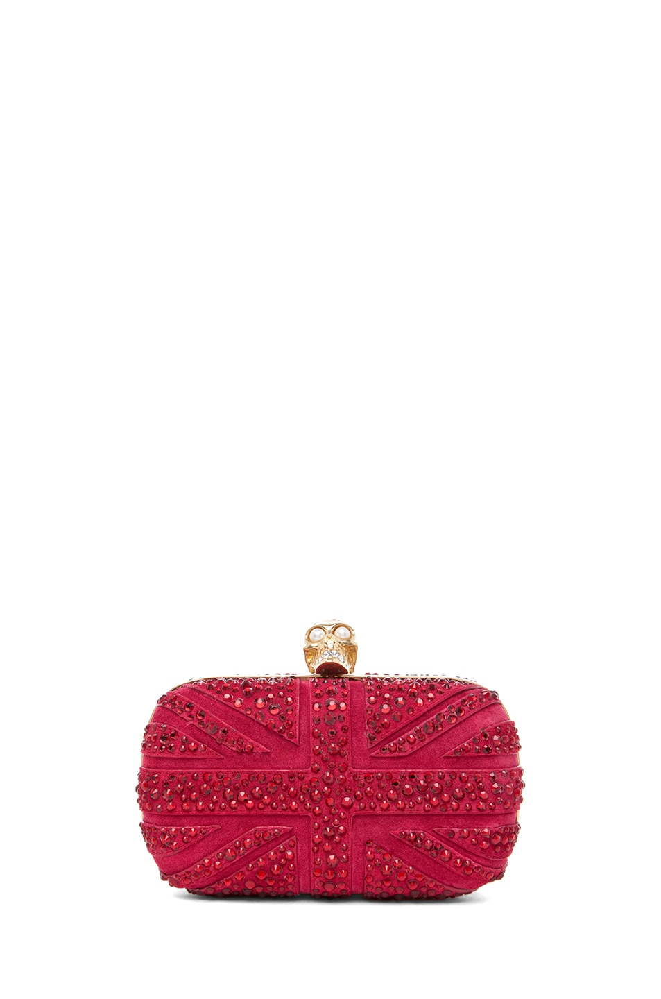 Image 1 of Alexander McQueen Britannia Skull Box Clutch in Dark Cherry