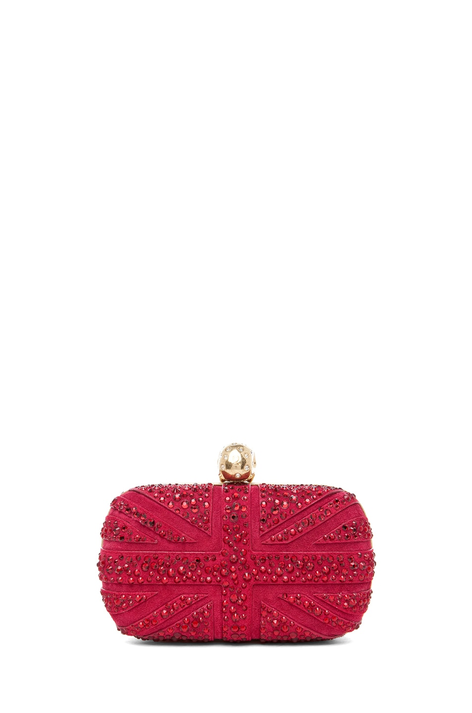 Image 2 of Alexander McQueen Britannia Skull Box Clutch in Dark Cherry