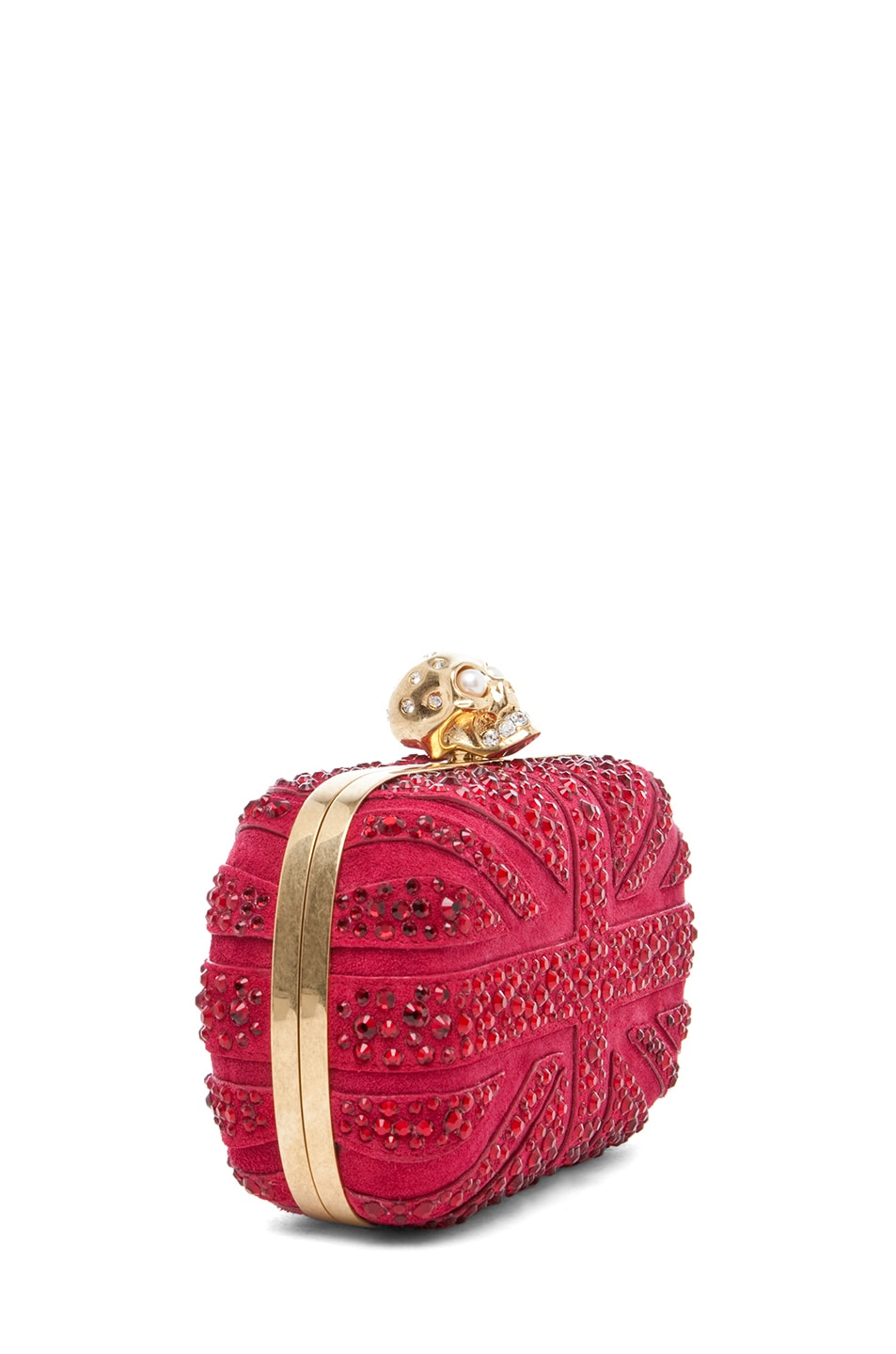 Image 3 of Alexander McQueen Britannia Skull Box Clutch in Dark Cherry