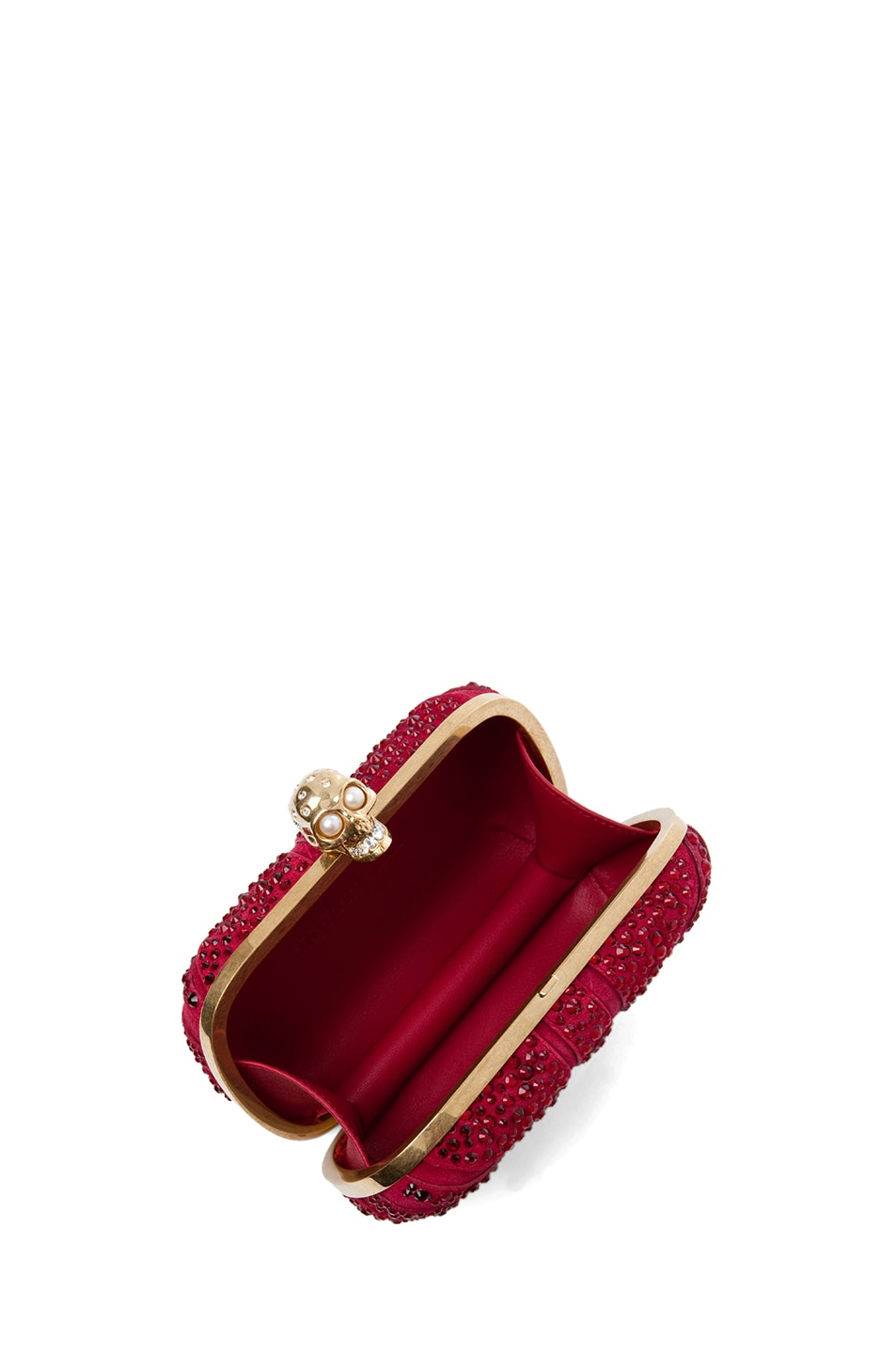 Image 4 of Alexander McQueen Britannia Skull Box Clutch in Dark Cherry