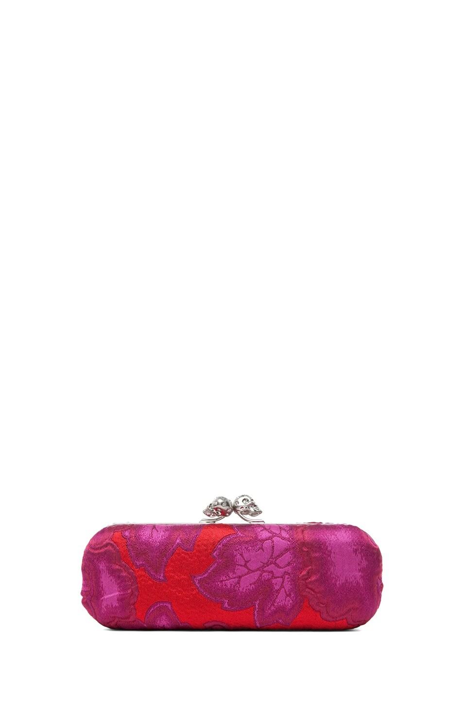 Image 1 of Alexander McQueen Twin Skull Clutch in Pink Red