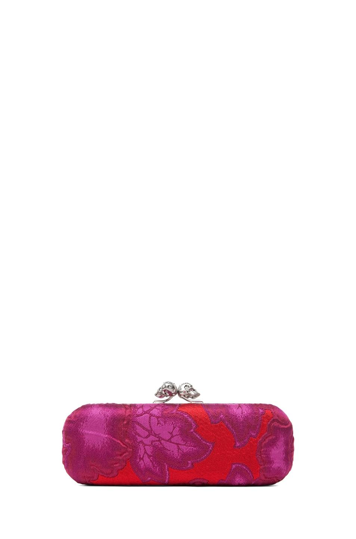 Image 2 of Alexander McQueen Twin Skull Clutch in Pink Red
