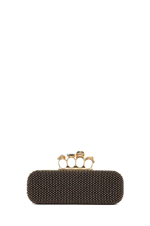 Image 1 of Alexander McQueen Suede Kuckle Box Clutch in Black