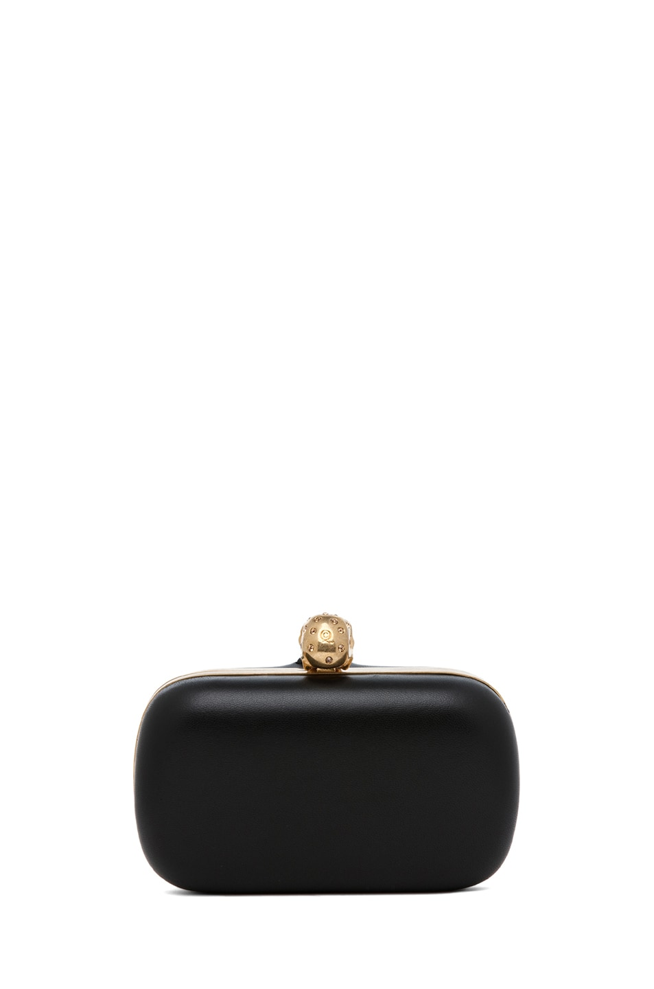 Image 2 of Alexander McQueen Classic Leather Skull Box Clutch in Black