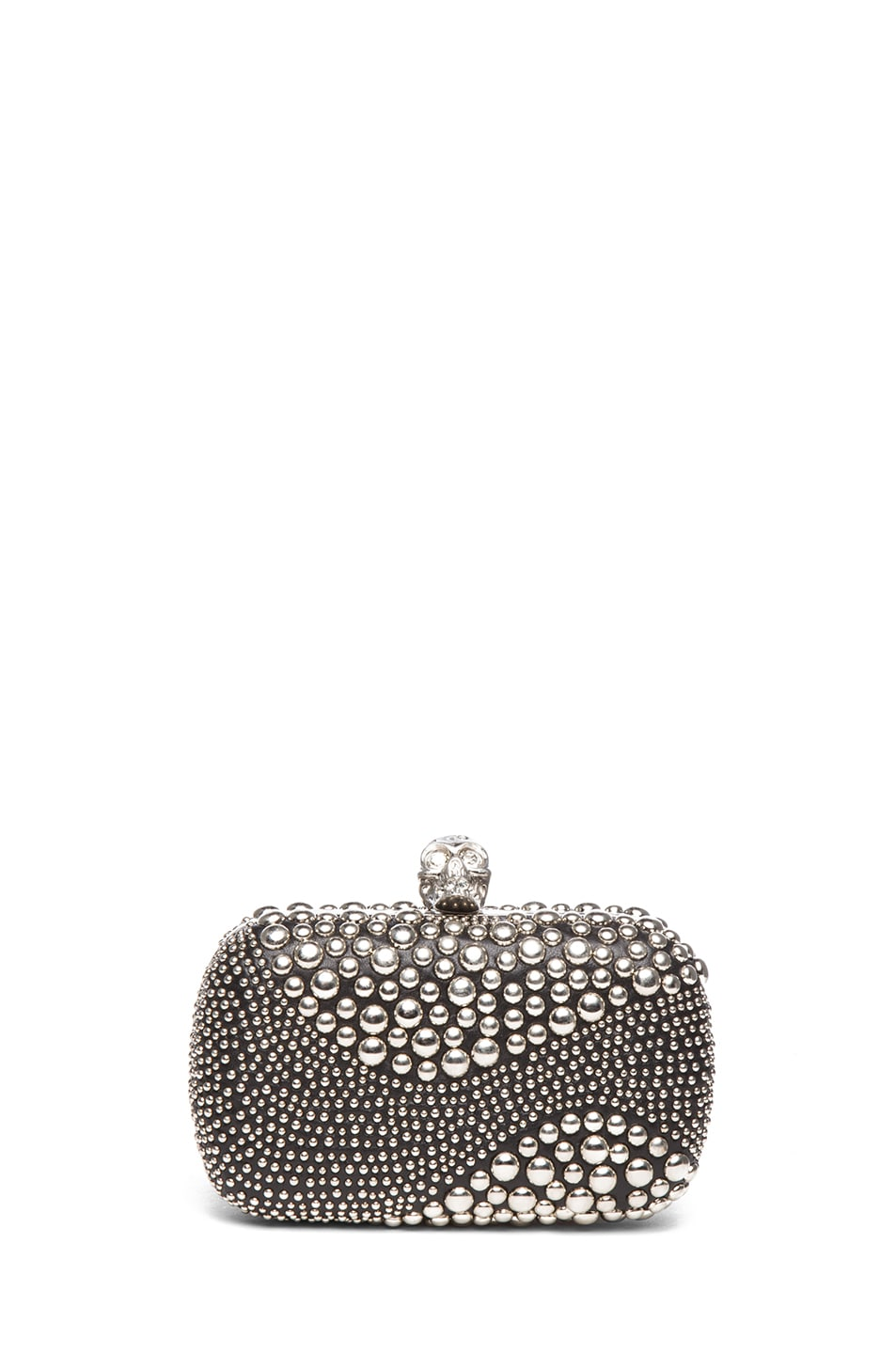 Image 1 of Alexander McQueen Classic Studded Skull Box Clutch in Black