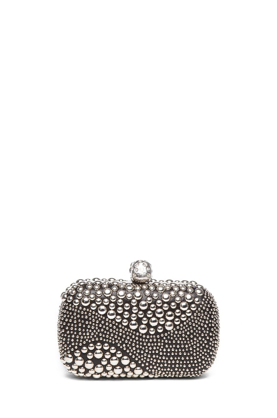 Image 2 of Alexander McQueen Classic Studded Skull Box Clutch in Black
