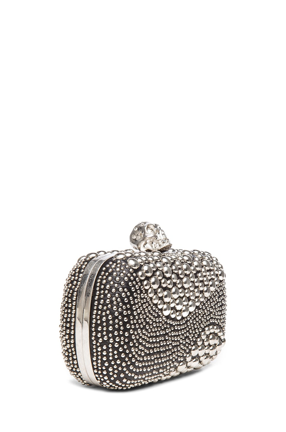 Image 3 of Alexander McQueen Classic Studded Skull Box Clutch in Black