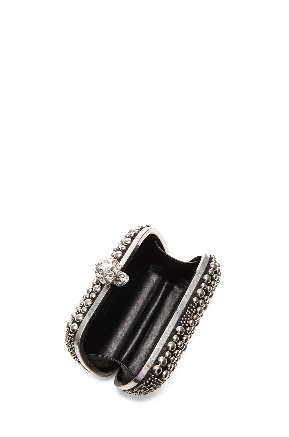 Image 4 of Alexander McQueen Classic Studded Skull Box Clutch in Black