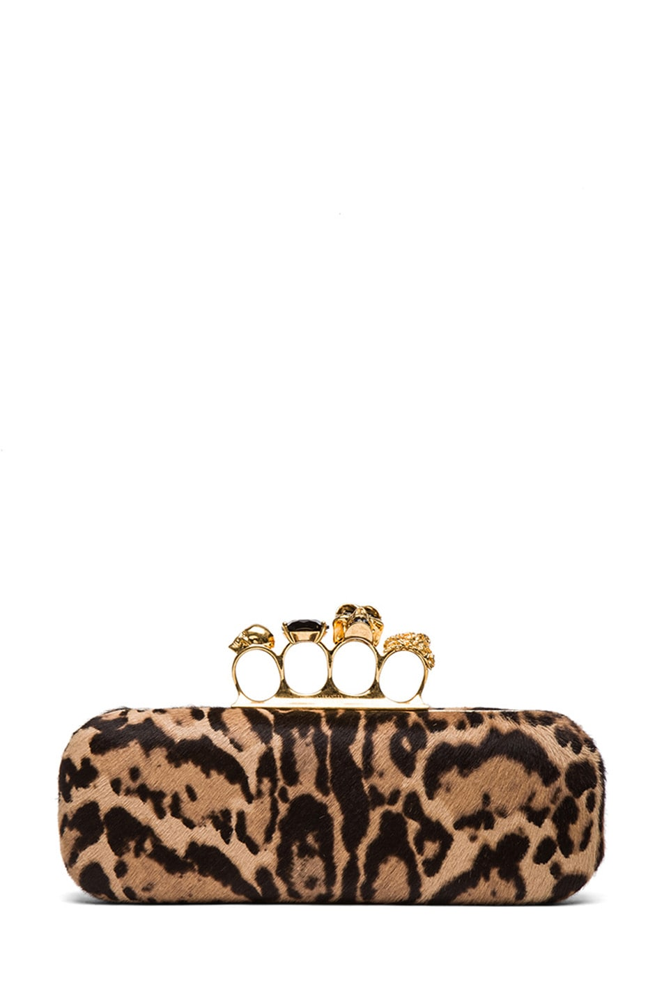 Image 1 of Alexander McQueen Leopard Knuckle Box Clutch in Black & Tan