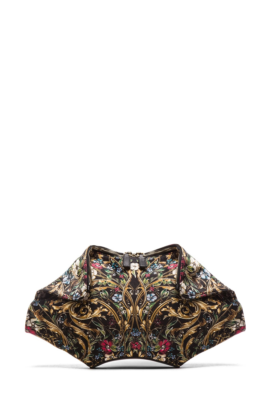 Image 1 of Alexander McQueen De Manta Floral Print Clutch in Black