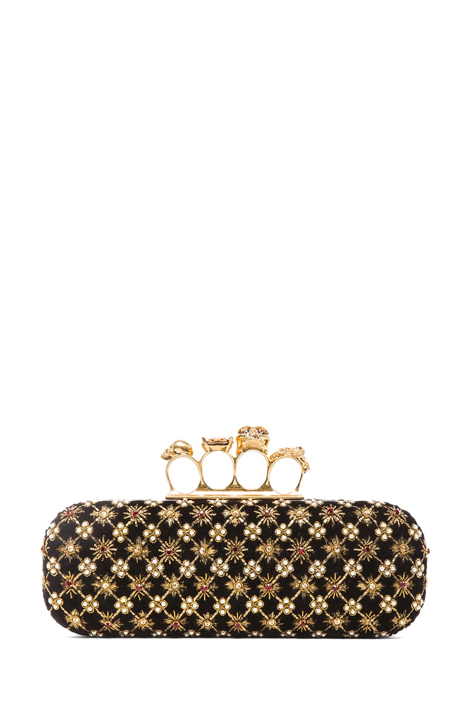 Image 1 of Alexander McQueen Embellished Knuckle Box Clutch in Multi