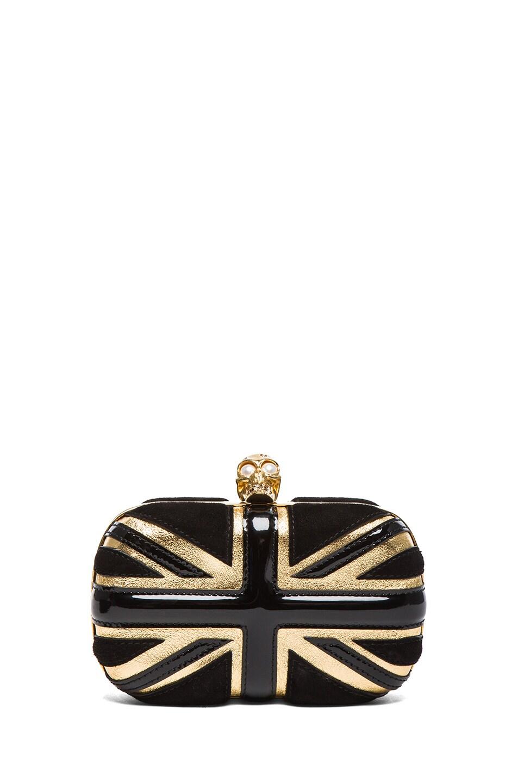 Image 1 of Alexander McQueen Britannia Skull Box Clutch in Gold & Black