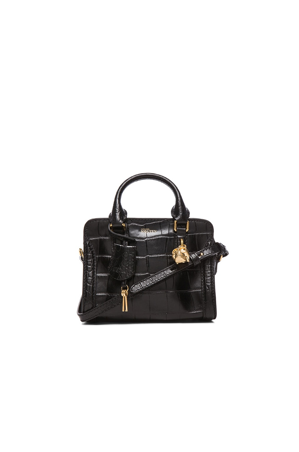 bd28a22c3a Image 1 of Alexander McQueen Croc Embossed Mini Padlock in Black