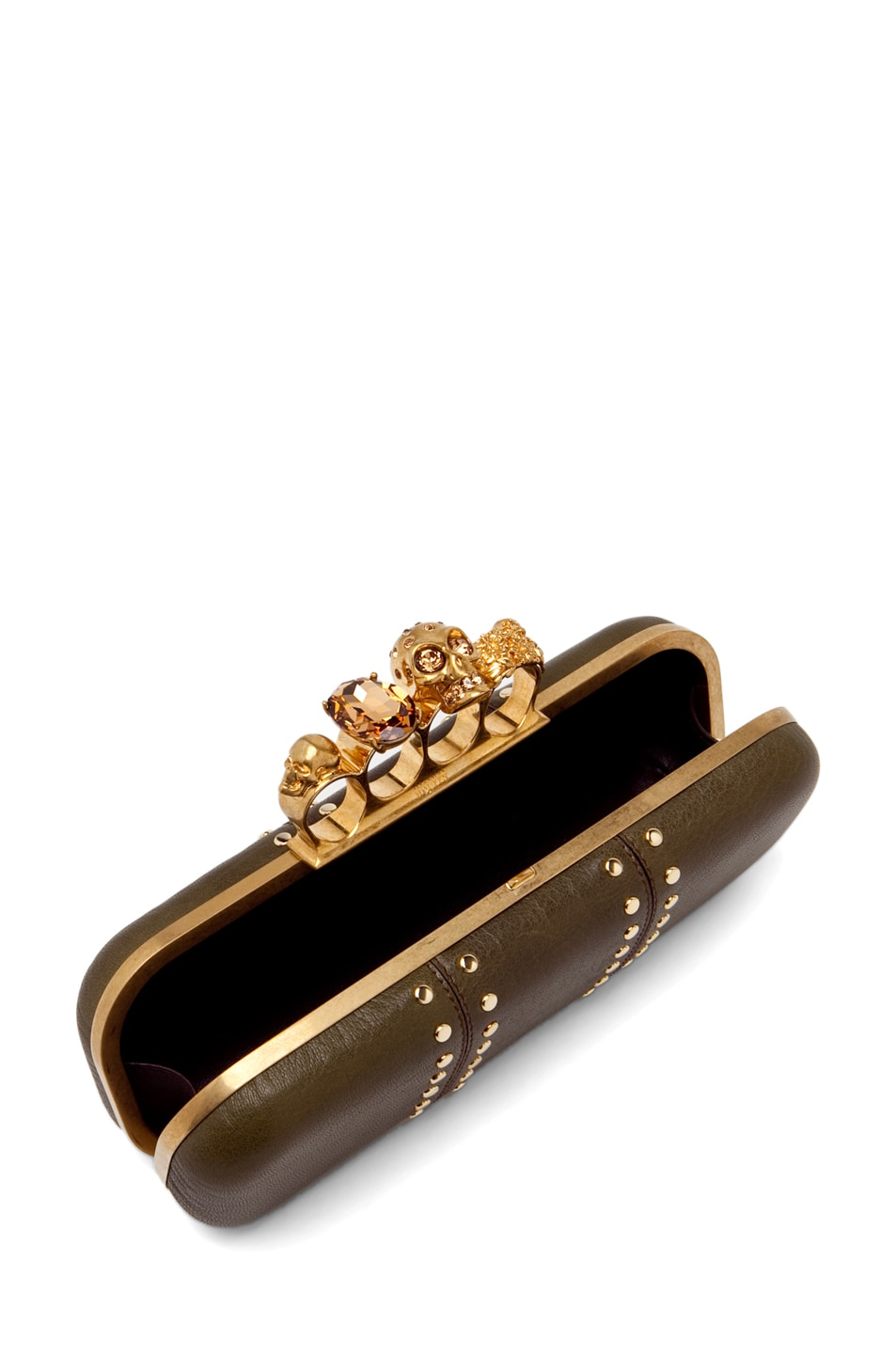 Image 5 of Alexander McQueen Knuckle Box Clutch in Olive Green