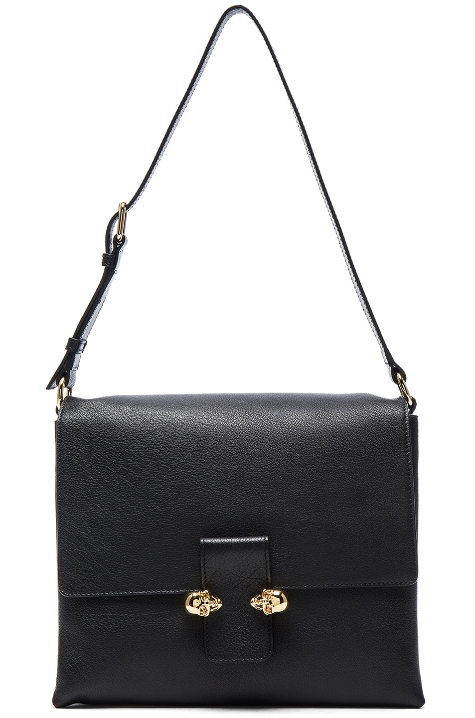 Image 1 of Alexander McQueen Twin Skull Leather Bag in Black