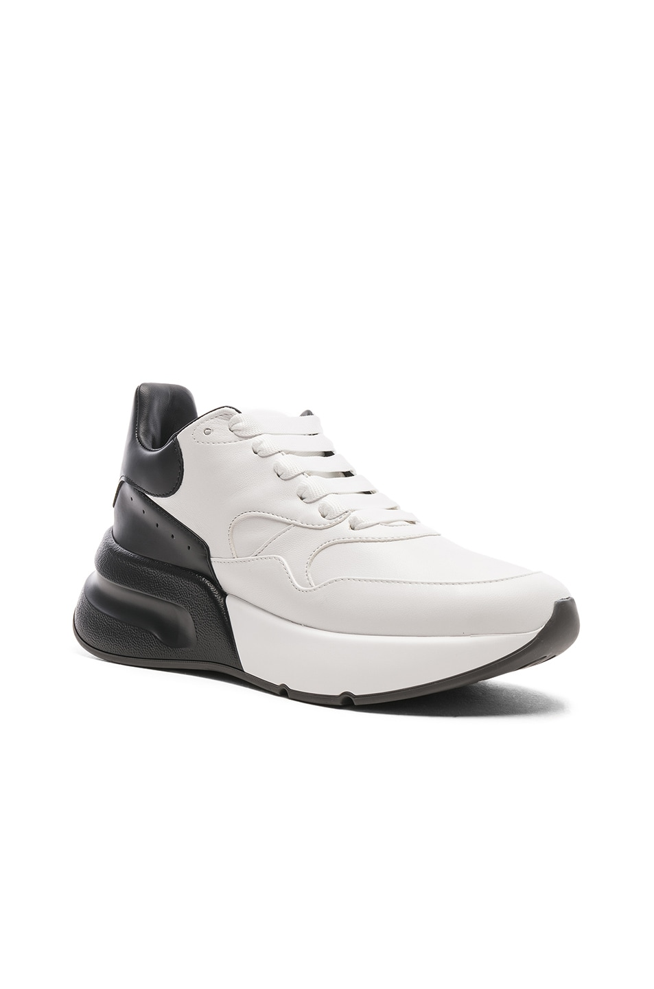 Image 2 of Alexander McQueen Two Tone Platform Sneakers in Optic White & Black