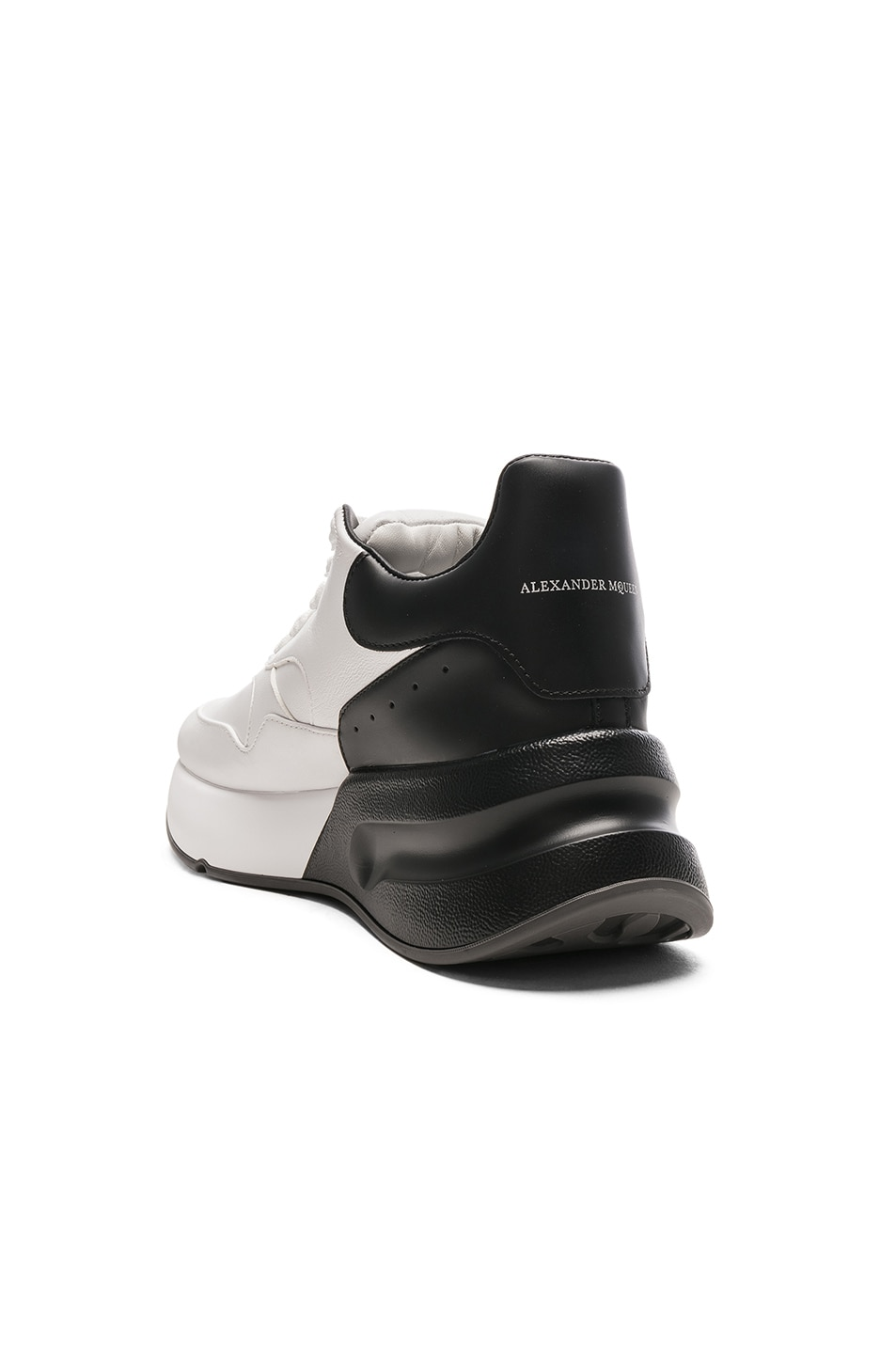 Image 3 of Alexander McQueen Two Tone Platform Sneakers in Optic White & Black