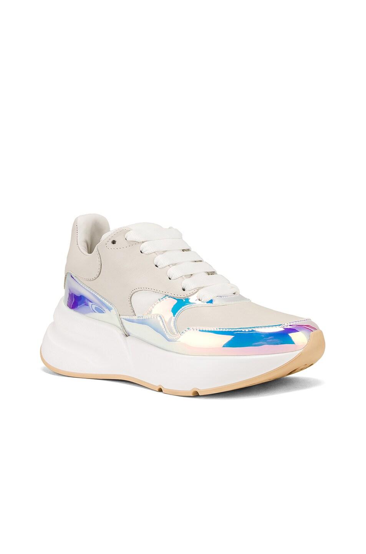 Image 2 of Alexander McQueen Embellished Sneakers in Cream & Pink