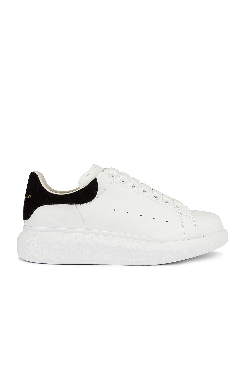 Image 1 of Alexander McQueen Leather Platform Sneakers in White & Black