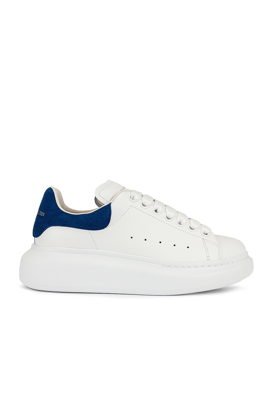 Image 1 of Alexander McQueen Leather Platform Sneakers in White & Blue