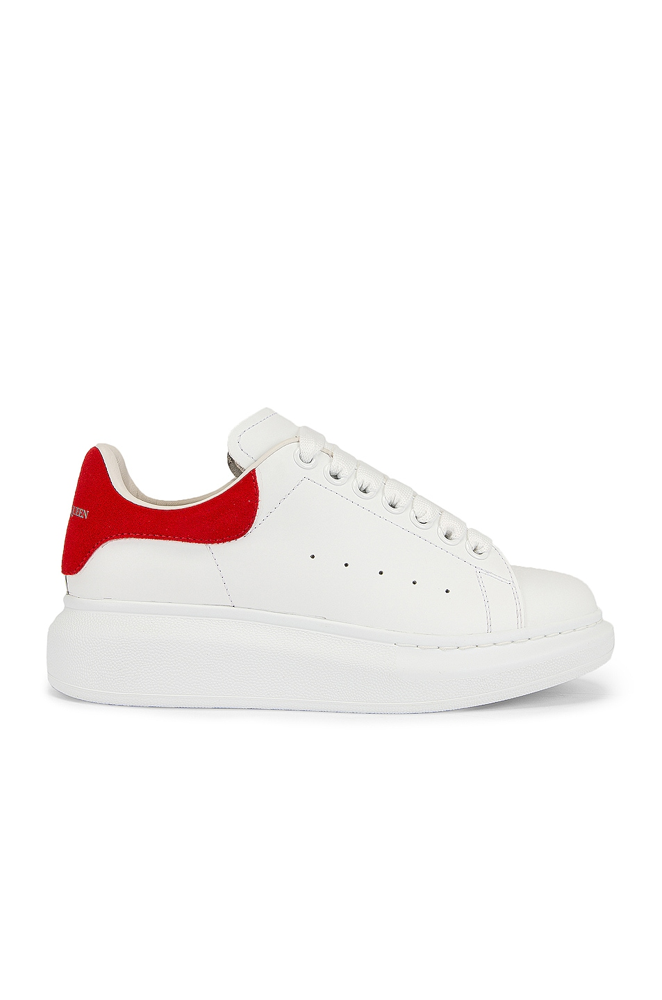 Image 1 of Alexander McQueen Leather Platform Sneakers in White & Red