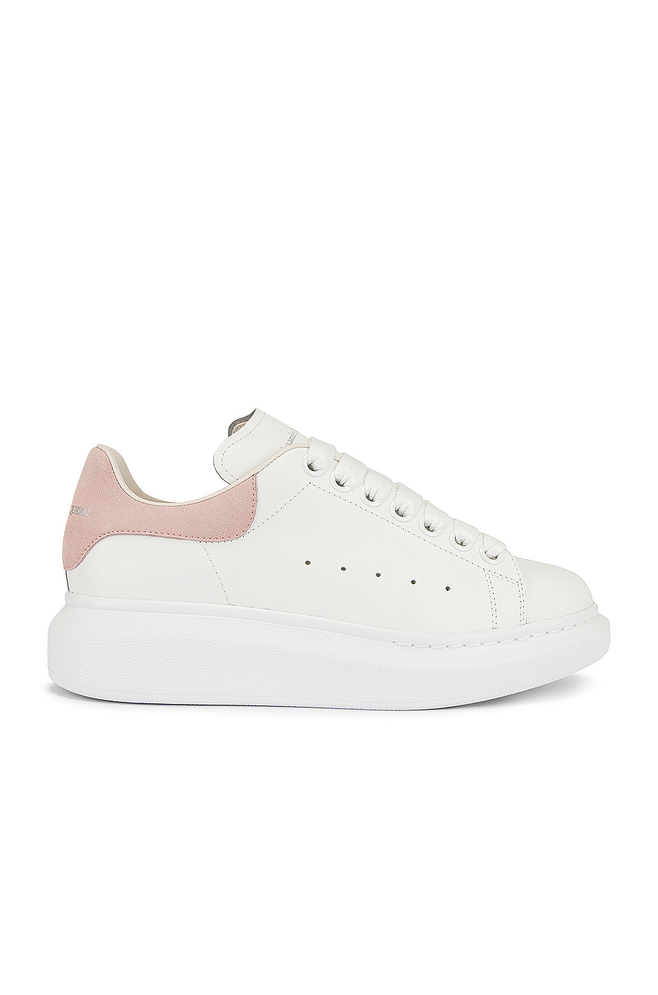 Image 1 of Alexander McQueen Leather Platform Sneakers in White & Rose