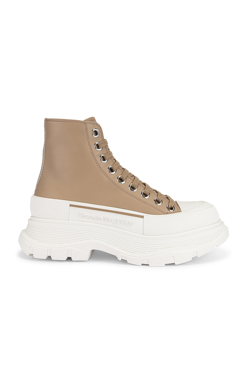 Image 1 of Alexander McQueen Lace Up Tread Slick High Top Sneakers in Camel & White