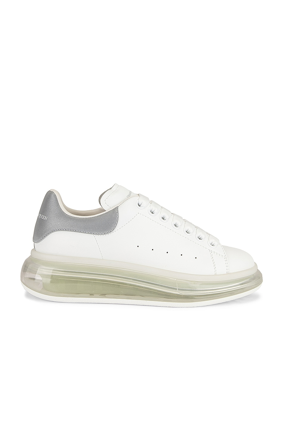 Image 1 of Alexander McQueen Lace Up Sneakers in White & Silver & Transparent