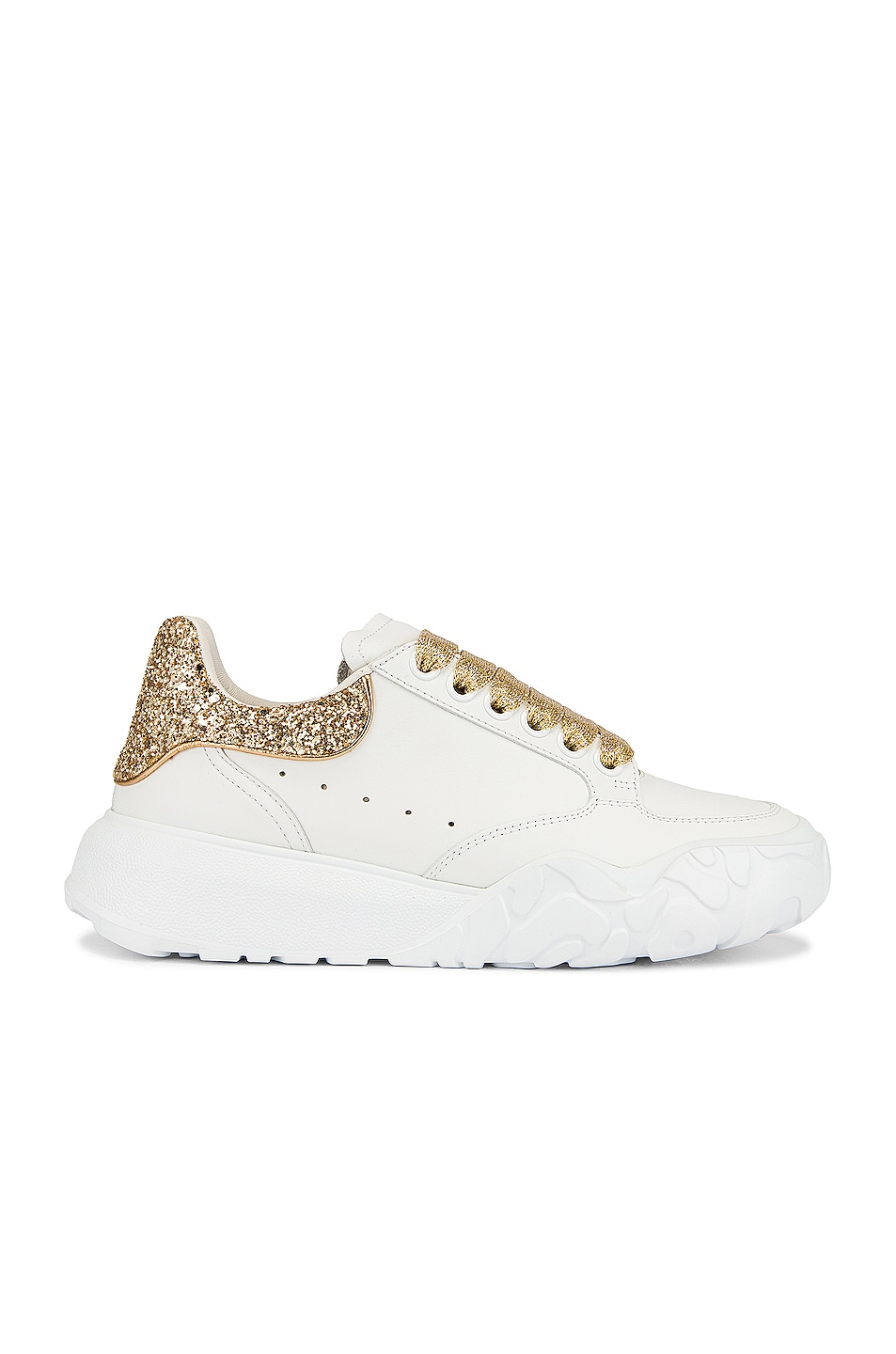 Image 1 of Alexander McQueen Leather Glitter Sneakers in White & Gold