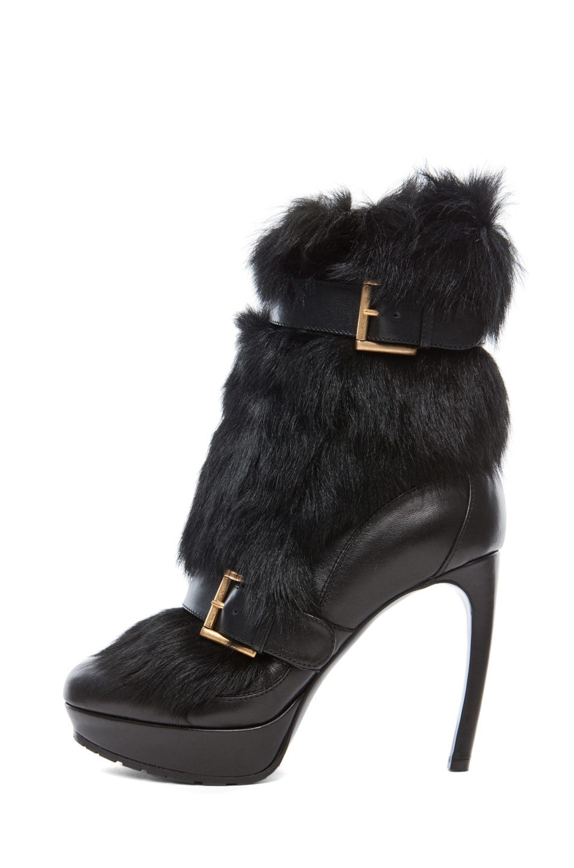 Image 1 of Alexander McQueen Long Hair Heel in Black