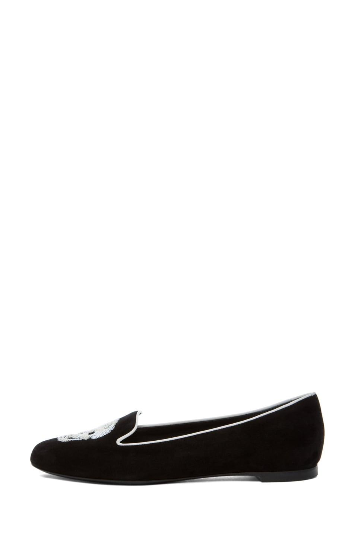 Image 1 of Alexander McQueen Suede Slipper in Black & Ivory
