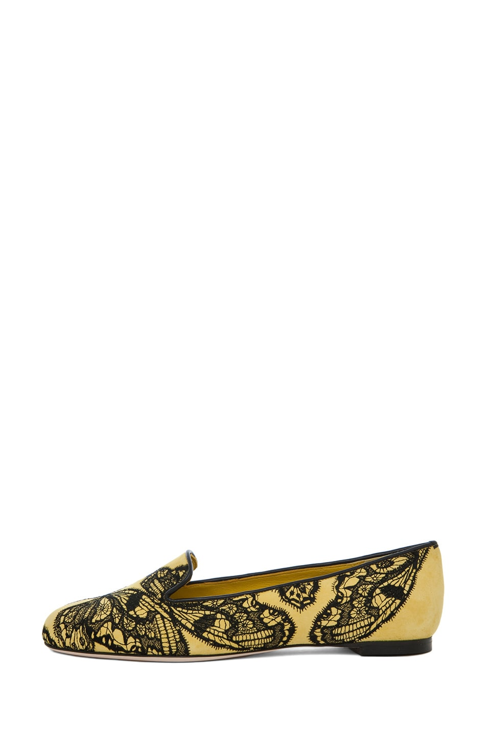 Image 1 of Alexander McQueen Butterfly Print Flat in Bright Yellow & Black