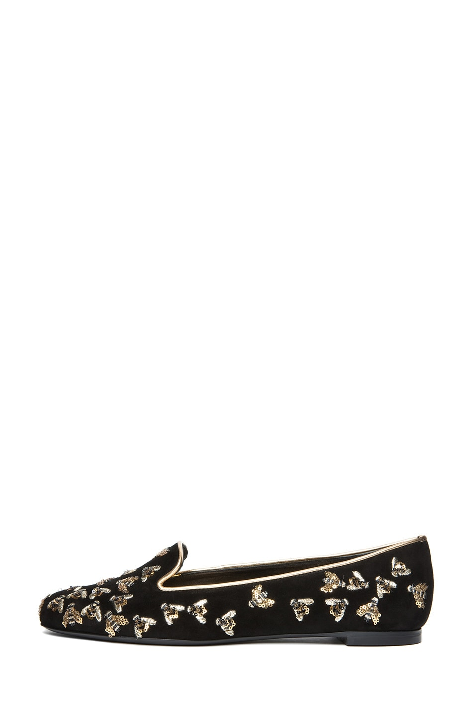 Image 1 of Alexander McQueen Bee Embellishment Velour Flats in Black