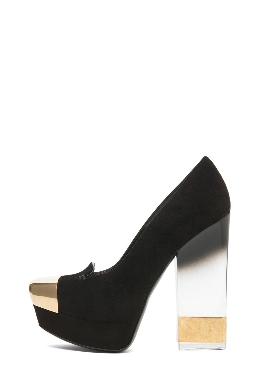 Image 1 of Alexander McQueen Suede Lucite Heel in Black