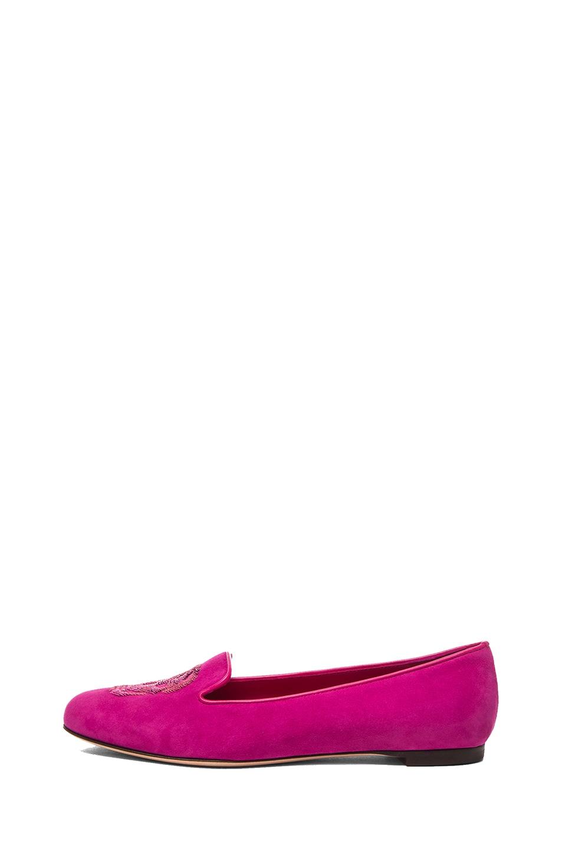 Image 1 of Alexander McQueen Skull Suede Slippers in Pink