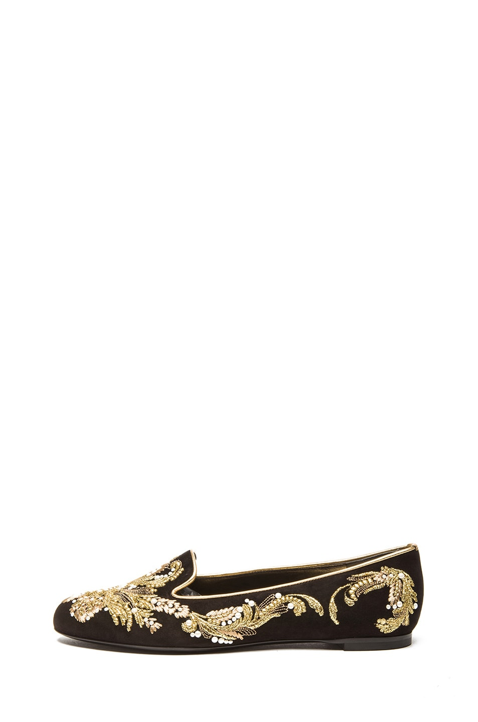 Image 1 of Alexander McQueen Embroidered Suede Flat in Black